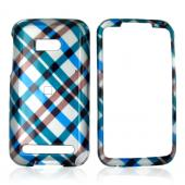 Verizon HTC Imagio Hard Case - Checkered Diamonds of Blue, Green, Brown, Silver