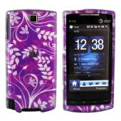 HTC Pure Hard Case - Floral Design on Purple