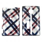 Kyocera Neo E1100 Hard Case - Checkered Plaid Pattern of Navy Blue, Brown, Silver