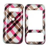 Kyocera Laylo M1400 Hard Case - Checkered Plaid of Pink, Brown, Grey