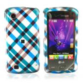 Verizon LG Chocolate Touch VX8575 Hard Case - Checkered Diamonds of Blue, Green, Brown, Silver