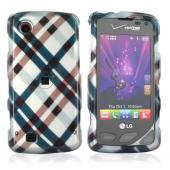 Verizon LG Chocolate Touch VX8575 Hard Case - Checkered Pattern of Navy, Brown on Silver
