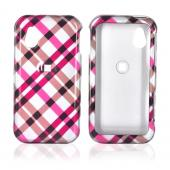 LG Arena GT950 Hard Case - Checkered Design of Pink, Hot Pink, Brown, Grey