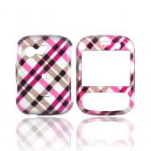 LG Remarq LN240 Hard Case - Checkered Diamonds of Pink, Brown, Silver