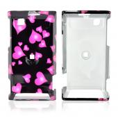 Motorola Devour A555 Hard Back Cover Case - Pink Floating Hearts on Black
