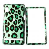 Motorola Droid A855 / Milestone Hard Case - Green/Black Leopard Print on Green