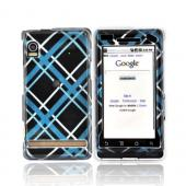 Motorola Droid A855 / Milestone Hard Case - Light Blue/Black Tartan Plaid Design
