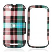 Motorola CLIQ Hard Case - Plaid Pattern of Blue, Brown, Grey