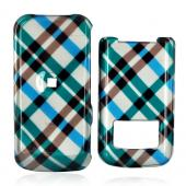 Motorola i410 Hard Case - Checkered Plaid Pattern of Blue, Green, Brown, Silver