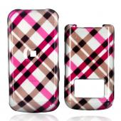 Motorola i410 Hard Case - Checkered Plaid of Pink, Brown, Grey