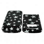 Motorola i410 Hard Case - Silver Stars on Black