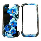 Motorola Clutch i465 Hard Case - Blue Flower on Black