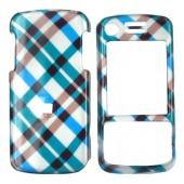 Motorola Debut i856 Hard Case - Checkered Pattern of Blue, Brown on Silver