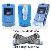 Motorola RAZR V3 Transparent Blue Hard Cover Case with Swivel Belt Clip