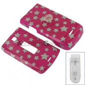 Motorola W385 Protective Hard Case - Silver Star on Pink