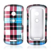 Motorola Crush W835 Hard Case - Plaid Pattern of Blue, Brown, and Silver