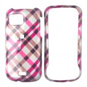Samsung Mythic A897 Hard Case - Checkered Plaid of Pink, Brown, and Silver