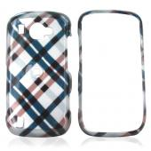 Samsung Omnia 2 I920 Hard Case - Checkered Plaid of Navy, Brown on Silver