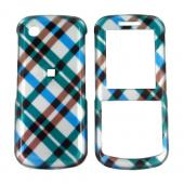 Samsung T349 Hard Case - Checkered Plaid Diamonds of Blue, Green Brown, Silver