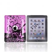 Apple iPad (1st Gen) 1st Hard Cover Case - Butterfly Swirl Design on Hot Pink