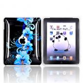 Apple iPad (1st Gen) 1st Hard Cover Case - Blue Flower Design on Black
