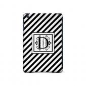 Vintage Vine D On Black Slanted Stripes - Geeks Designer Line Monogram Series Hard Case for Apple iPad Mini