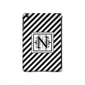 Vintage Vine N On Black Slanted Stripes - Geeks Designer Line Monogram Series Hard Case for Apple iPad Mini