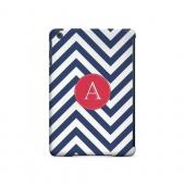 Cherry Button A on Navy Blue Zig Zags - Geeks Designer Line Monogram Series Hard Case for Apple iPad Mini