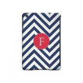 Cherry Button F on Navy Blue Zig Zags - Geeks Designer Line Monogram Series Hard Case for Apple iPad Mini