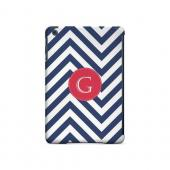 Cherry Button G on Navy Blue Zig Zags - Geeks Designer Line Monogram Series Hard Case for Apple iPad Mini