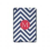 Cherry Button M on Navy Blue Zig Zags - Geeks Designer Line Monogram Series Hard Case for Apple iPad Mini