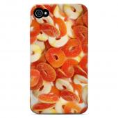 Geeks Designer Line (GDL) Apple iPhone 4/4S Matte Hard Back Cover - Orange/ White Gummy Rings
