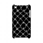 White Skull & Crossbones on Black - Geeks Designer Line (GDL) Monster Mash Series Hard Back Cover for Apple iPod Touch 4
