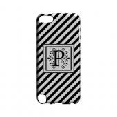 Vintage Vine P On Black Slanted Stripes - Geeks Designer Line Monogram Series Hard Case for Apple iPod Touch 5
