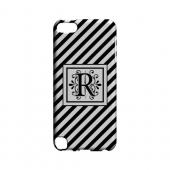 Vintage Vine R On Black Slanted Stripes - Geeks Designer Line Monogram Series Hard Case for Apple iPod Touch 5
