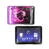 Motorola Xoom Hard Back Cover Case - Hot Pink/ Purple Flowers & Hearts