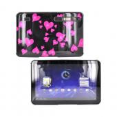 Motorola Xoom Hard Back Cover Case - Pink Raining Hearts on Black
