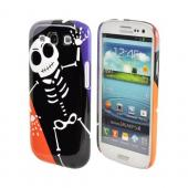 Geeks Designer Line (GDL) Samsung Galaxy S3 Matte Hard Back Cover - Dancing Skeleton on Black/Orange/Purple