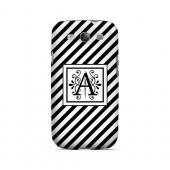 Vintage Vine A On Black Slanted Stripes - Geeks Designer Line Monogram Series Matte Case for Samsung Galaxy S3