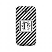 Vintage Vine P On Black Slanted Stripes - Geeks Designer Line Monogram Series Matte Case for Samsung Galaxy S3