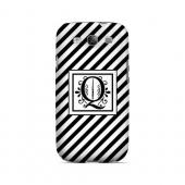 Vintage Vine Q On Black Slanted Stripes - Geeks Designer Line Monogram Series Matte Case for Samsung Galaxy S3
