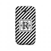 Vintage Vine R On Black Slanted Stripes - Geeks Designer Line Monogram Series Matte Case for Samsung Galaxy S3