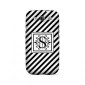 Vintage Vine S On Black Slanted Stripes - Geeks Designer Line Monogram Series Matte Case for Samsung Galaxy S3