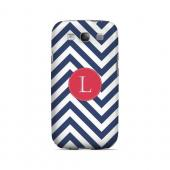 Cherry Button L on Navy Blue Zig Zags - Geeks Designer Line Monogram Series Matte Case for Samsung Galaxy S3