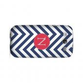 Cherry Button N on Navy Blue Zig Zags - Geeks Designer Line Monogram Series Matte Case for Samsung Galaxy S3