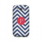 Cherry Button P on Navy Blue Zig Zags - Geeks Designer Line Monogram Series Matte Case for Samsung Galaxy S3