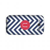 Cherry Button U on Navy Blue Zig Zags - Geeks Designer Line Monogram Series Matte Case for Samsung Galaxy S3