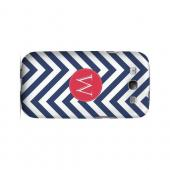 Cherry Button W on Navy Blue Zig Zags - Geeks Designer Line Monogram Series Matte Case for Samsung Galaxy S3