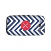 Cherry Button X on Navy Blue Zig Zags - Geeks Designer Line Monogram Series Matte Case for Samsung Galaxy S3