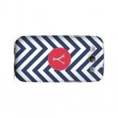 Cherry Button Y on Navy Blue Zig Zags - Geeks Designer Line Monogram Series Matte Case for Samsung Galaxy S3